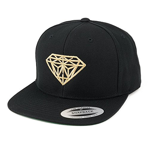 Flexfit Diamond Embroidered Flat Bill Snapback Cap - Black with Metallic Gold Thread