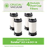 4 Style DCF-1, DCF-4, DCF-18 Filters for all Eureka 4700/5500 series vacuums; Compare to Eureka Part Nos. 62132, 63073, 61770, 3690, 28608-1; Designed & Engineered by Think Crucial