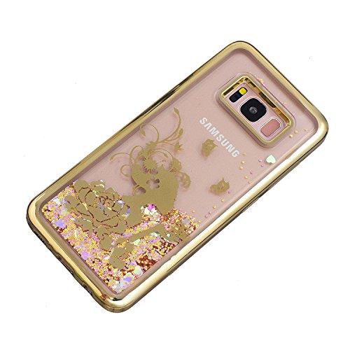 Vandot Funda para Samsung Galaxy S8 Plus Brillante Caso Shell, Ultrafino Fluido Líquido Cristal Caso Bling Arena Movediza Patrón TPU Silicona Cubierta de la Caja del Teléfono para Samsung Galaxy S8 Pl CH LS 07