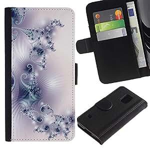 """[Neutron-Star] Modelo colorido cuero de la carpeta del tirón del caso cubierta piel Holster Funda protecció Para Samsung Galaxy S5 V SM-G900 [Modelo del papel pintado del arte de la luz blanca púrpura""""]"""
