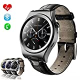 TKSTAR Sports Smartwatch Waterproof with Heart Rate Monitor, Blood Pressure, Pedometer Watches for Men Women Steel Strap (Leather Strap X10 Black)