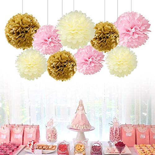 9 Pcs Assorted Hanging Tissue Paper Pom-Poms Flower Balls Decor Kit for Birthday Wedding Party Baby Shower Decorations Beige Gold Peach]()