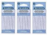 3-PACK - Beadalon Collapsible Eye Needles 2.5-Inch Medium 4 per Pack (Total 12 Needles)