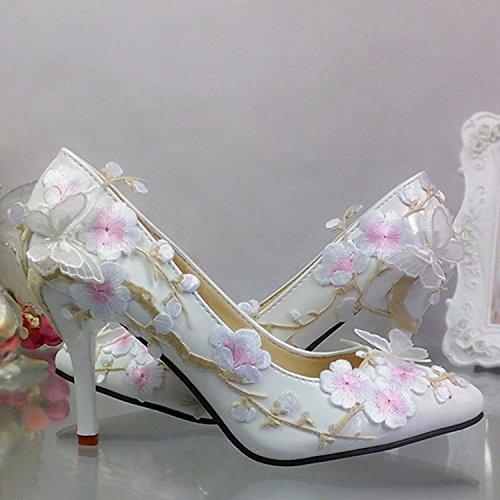 Photo Pointed Shoes Super Sandals Bow Plum Photo Singles Shallow Prom Mouth White Classical 5 Wedding Chinese 7 Lace VIVIOO Embroidery High Bride 78TqSpFwZW