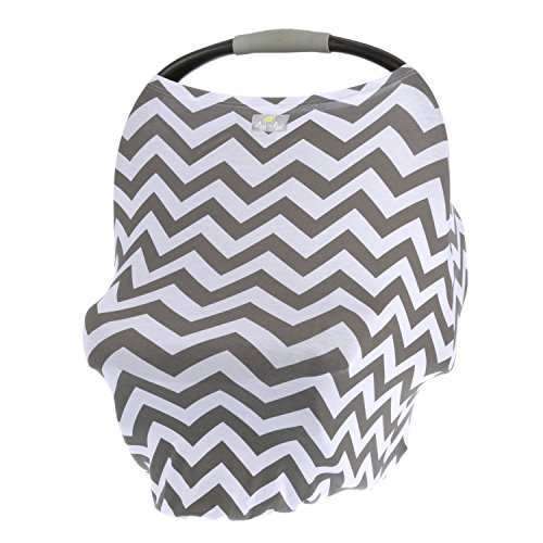 Itzy Ritzy 4-in-1 Nursing Cover, Car Seat Cover, Shopping Cart Cover and Infinity Scarf - Breathable, Multi-Use Mom Boss Breastfeeding Cover, Car Seat Canopy, Cart Cover and Scarf, Gray Chevron