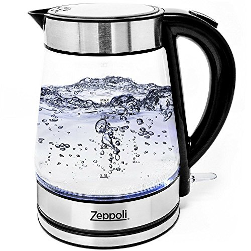 Zeppoli Electric Kettle (BPA Free) - Fast Boiling Glass Tea Kettle (1.7L) Cordless, Stainless Steel Finish Hot Water Kettle – Glass Tea Kettle, Tea Pot – Hot Water Dispenser