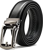 "Genuine Leather Belt For Men – Ratchet Dress Belt With Automatic Buckle - 1.25"" Wide Adjustable Notch-Free Design (BLACK, Wasit Size: up to 43"")"