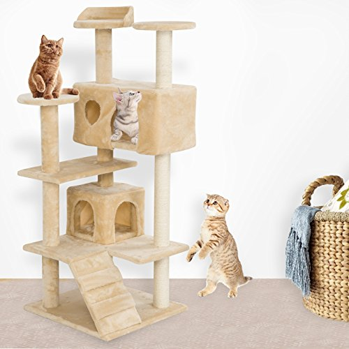 SUNCOO Cat Activity Tree and Towers Condo Furniture Scratching Kitty Pet Play House with Stair (51 Inch High - Beige)
