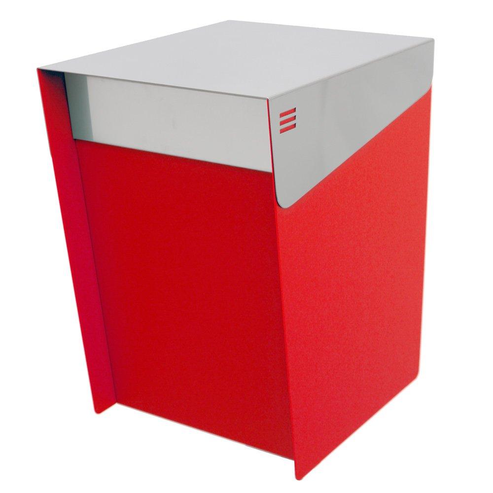KATANABOX ''Mega'' - Stainless Steel Post-Mount Modern Design Mailbox, Lockable (Red)