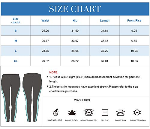 ATTRACO Rash Guard Women Pants Long Swim Pants High Waist Swimming Bottom Aqua L