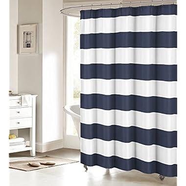 Fabric Shower Curtain: Nautical Stripe Design (Navy and White)