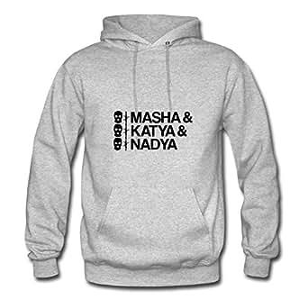 Women Pussy Riot Masha & Katya & Nadya Custom Chic Informal Grey Hoodyby Erinwood