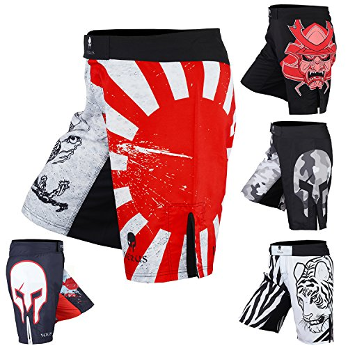Men's Mixed Martial Art Shorts by VERUS (Red/White, X-Large)