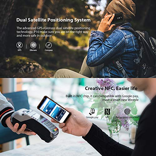 POPTEL P10 Rugged Cell Phones Unlocked, IP68 Waterproof Smartphones with 4G/LTE, Octa Core, 5.5inch 4GB+64GB, Dual Sim Waterproof Camera Rugged Smartphones(Black Orange)