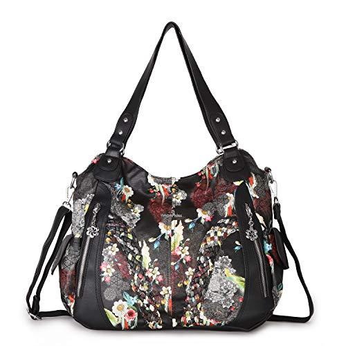 - Angelkiss Women Top Handle Satchel Handbags Shoulder Bag Messenger Tote Washed Leather Purses Bag (Black-Flower) ...