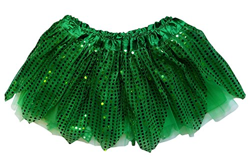 So Sydney Kids, Adult, or Plus Size SPARKLE RUNNING TUTU SKIRT Halloween Costume (M (Kid Size), Green)