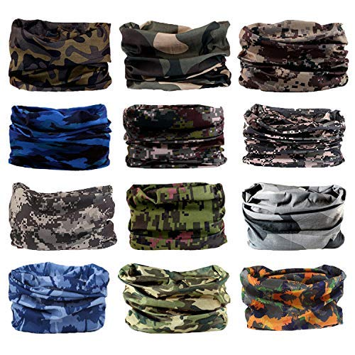 (Neck Gaiter, 6PCS/ 9PCS Sport Headwear Face Bandana Mask Elastic UV Resistence Magic Headband for Men and Women (12PCS-Camouflage-4))