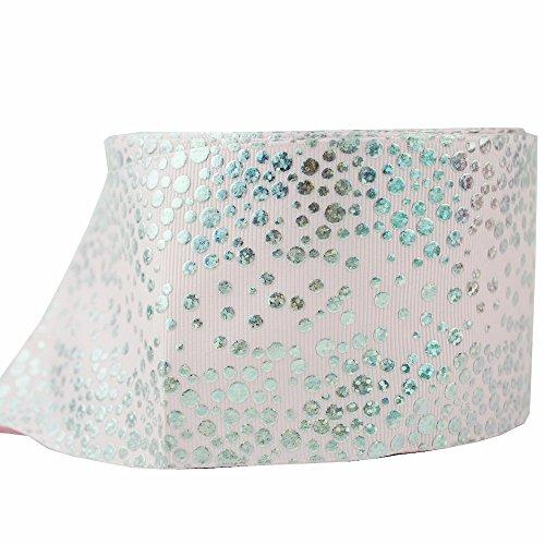 (3 Inch 75MM Printed Polka Dots Grosgrain Fabric Riboon Foil Hologram Ribbons 10 Yards (lt pink))