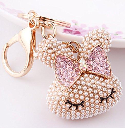 Rabbit Bowknot (Libaraba Cute Full Mini Pearls and Rhinestone Bowknot Rabbit Keychain Gift Car Key Ring)