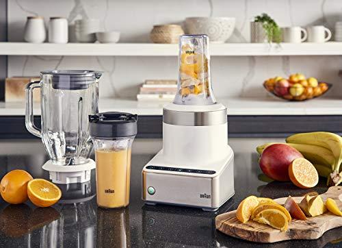 Braun JB7352 WHS PureMix Power Countertop Blender With Glass Jug & Smoothie2Go Cups 56 fl. oz. White