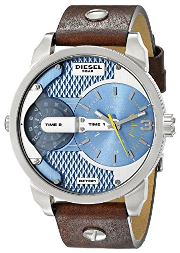 Diesel Mens Brown Leather - Diesel Men's DZ7321 Mini Daddy Watch With Brown Leather Band