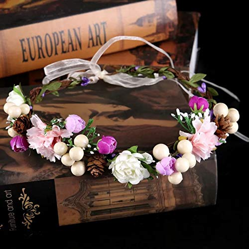 Nature Flower Headband Crown with Floral Wrist Band For Wedding Festival Party