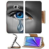 Liili Premium Samsung Galaxy Note 5 Flip Pu Leather Wallet Case Note5 IMAGE ID: 12353991 Child abuse with the eye of a young boy or girl with a single tear crying due to the fear o