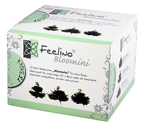 Bloomini, 15 Stück Weißtee Mini-Teeblumen BigBox, mit Jasmin- und Rosenblüten und natürlichen Litchi-, Mango und Pfirsicharomen