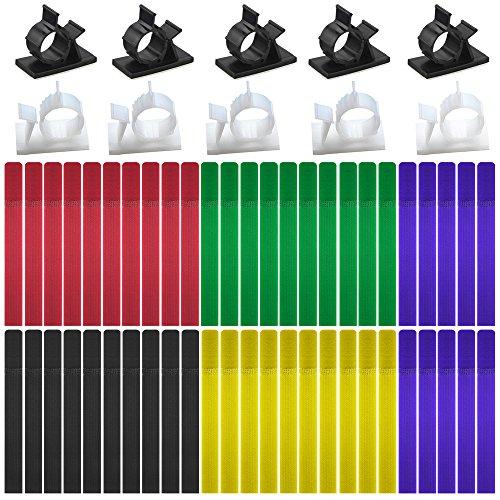 Clips de cable ajustables 20 piezas y abrazaderas de cable 50 piezas,FineGood abrazaderas de cables de nylon adhesivas...