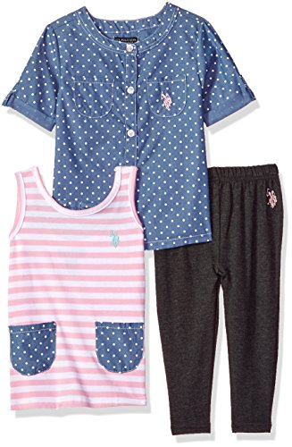 U.S. Polo Assn. Girls' Toddler Knit, Fashion Top and Pant Set, Printed Woven Striped Bow Back Tank Solid Legging Prism Pink, 4T ()