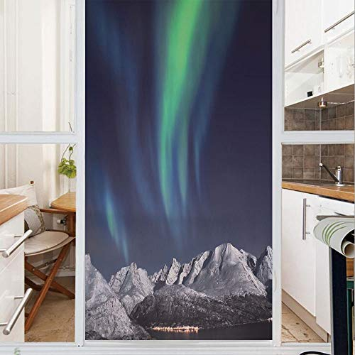 (Decorative Window Film,No Glue Frosted Privacy Film,Stained Glass Door Film,Northern Lights Aurora over Fjords Mountain at Night Norway Solar Image Art,for Home & Office,23.6In. by 35.4In Green Dark B)
