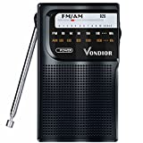 AM / FM Portable Pocket Radio - Best reception and Longest Lasting. AM FM Compact Radio Player (Analog ) Operated by 2 AA Battery, Mono Headphone Socket, Perfect Father Gift by Vondior (Black)