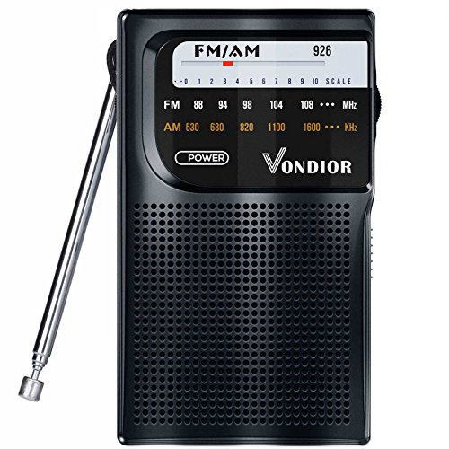 AM FM Radio Portable - Best Reception Transistor Radio/Longest Lasting Battery Operated Radio (2AA) / FM AM Pocket Radio. Mono Headphone Socket, by Vondior (Black)