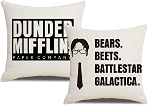 YNOUU 2pcs The Office Themed Decorative Pillow Cases The Office Merchandise The Office Quote Throw Pillow Covers 18x18 Weird Gifts for Dwight Schrute Fans