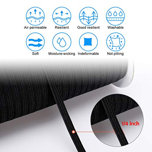 10 Yard Elastic Band for Sewing Braids,1/4 Inch Width Elastic String for Masks Earloop,Black Mask Flat Elastic Rope/Bungee/Heavy Stretch Knit Elastic Cord for Sewing/Wigs/Hair/DIY/Crafts/Bedspread