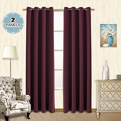 Vangao Room Darkening Draperies 52x84 Inch Set of 2 Burgundy Red Thermal Insulated Solid Grommet Top Window Blackout Curtains/Drapes/panels for Living Room/Dinning Room (Burgundy Panel)