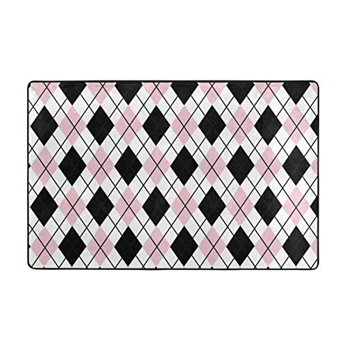 Black Pink White Argyle Patterns Area Rug Rugs Non-Slip Floor Mat Doormats Living Room Bedroom 60 X 39 Inches