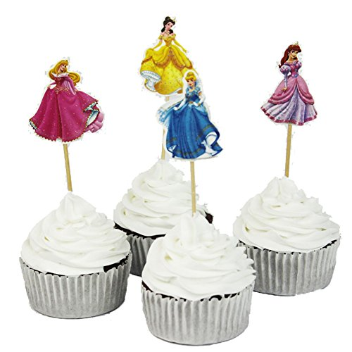 BETOP HOUSE Set of 24 Pieces Cinderella Cake Cupcake Decorative Cupcake Topper for Kids Birthday Party Themed Party Baby Shower ()