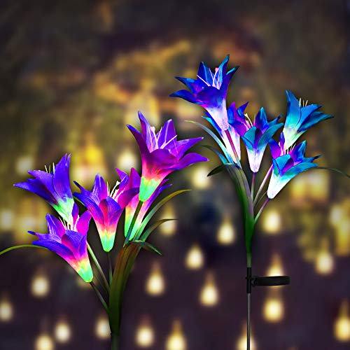 Digiroot Waterproof Outdoor Solar Garden Stake lights,2 Packs Solar Powered Decorative Light with 8 Lily Flower light,Multi-Color Changing LED Solar Path Lights for Garden,Patio,Backyad (Purple/White) -