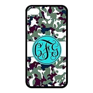 Bhite Striped Blue Monogram in The Army Camouflage Background Design Fashion Custom Luxury With Plastic For Case HTC One M7 Cover and 4s