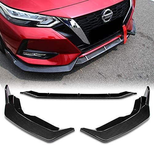 EPARTS Carbon Fiber Look Front Bumper Body Kit Spoiler Lip 3PCS Compatible with 2020-2021 Nissan Sentra