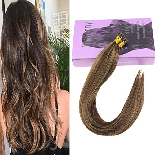 (VeSunny 14inch I Tip Hair Extensions Human Hair Color #4 Dark Brown Mixed #27 Caramel Blonde Fusion Hair Extensions 50Gram Per Pack)