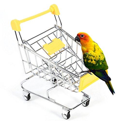 Gosear Bird Parrot Toy Mini Supermarket Shopping Cart Handcart Trolley Toy Home Office Storage Box Pet Hamster Rabbit Children Toys Birthday Gift Random Color