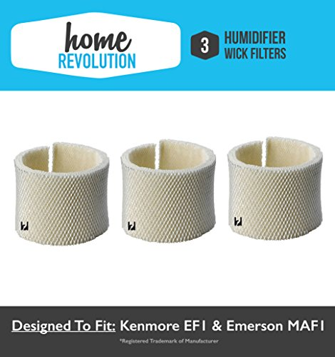 Kenmore EF1 and Emerson MAF1 14906, 42-14906 Comparable Humidifier Wick Filter. Home Revolution Brand Quality Replacement (3)