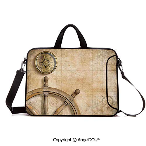 AngelDOU Neoprene Laptop Shoulder Bag Case Sleeve with Handle and Extra Pocket Steering Wheel and Compass Vintage Map Setting Captains Chamber Finding Treasure Compatible with MacBook/Ultrabook/HP/A