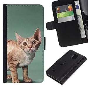 All Phone Most Case / Oferta Especial Cáscara Funda de cuero Monedero Cubierta de proteccion Caso / Wallet Case for Samsung Galaxy Note 4 IV // Javanese Devon Rex Big Ears Cat