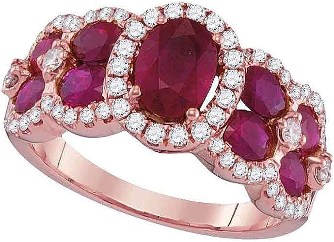Amazon Com Fb Jewels 18k Rose Gold Womens Oval Ruby Diamond
