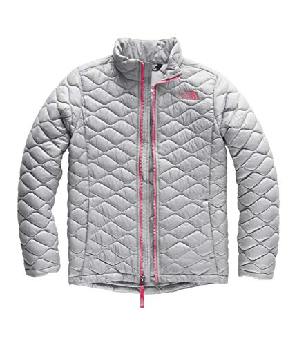 The North Face Girls' Thermoball Full Zip, Mid Grey/Atomic Pink, Medium (Hoodie Girls Oso Face The North)