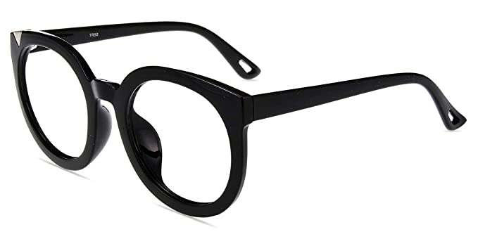 7a77e461c7 Amazon.com  Firmoo Anti Blue Ray Computer Glasses for Anti  Glare UV Eyestrain Headache with Firm Thick Oversized Round Black Plastic  Frame for Women Men  ...