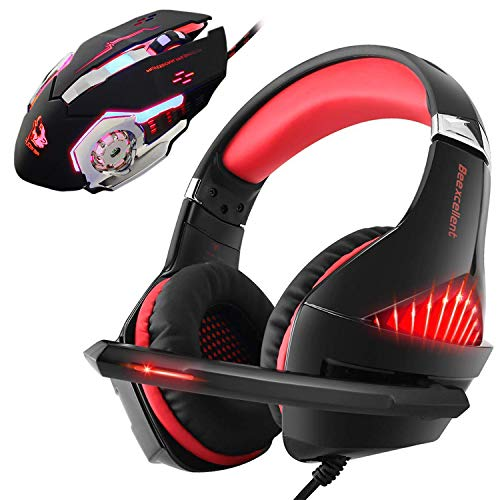 - Gaming Headset and RGB Mouse Combo, Pro Gaming Headset for Xbox One, PS4, PC, Laptop with Mic, LED Over-Ear Headphone, 4000DPI Wired Ergonomic USB Gaming Mouse, 4 Adjustable DPI with 6 Button